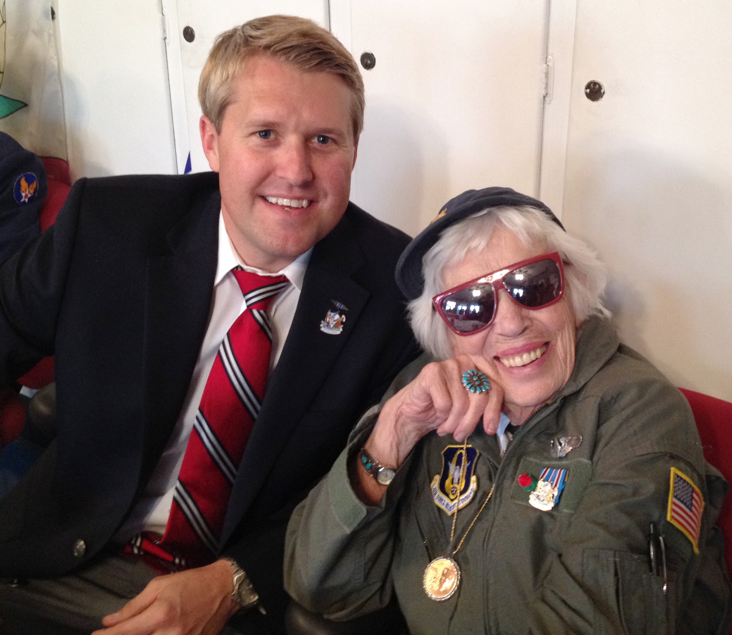 Sandberg with Jean McCreedy, a member of a World War II women's military pilot group that Sandberg's Condor Squadron honored in December 2013.