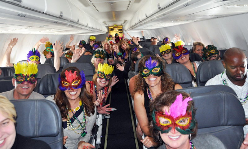 Passengers on Alaska Airlines' inaugural flight June 12 from Seattle to New Orleans were in a festive mood.