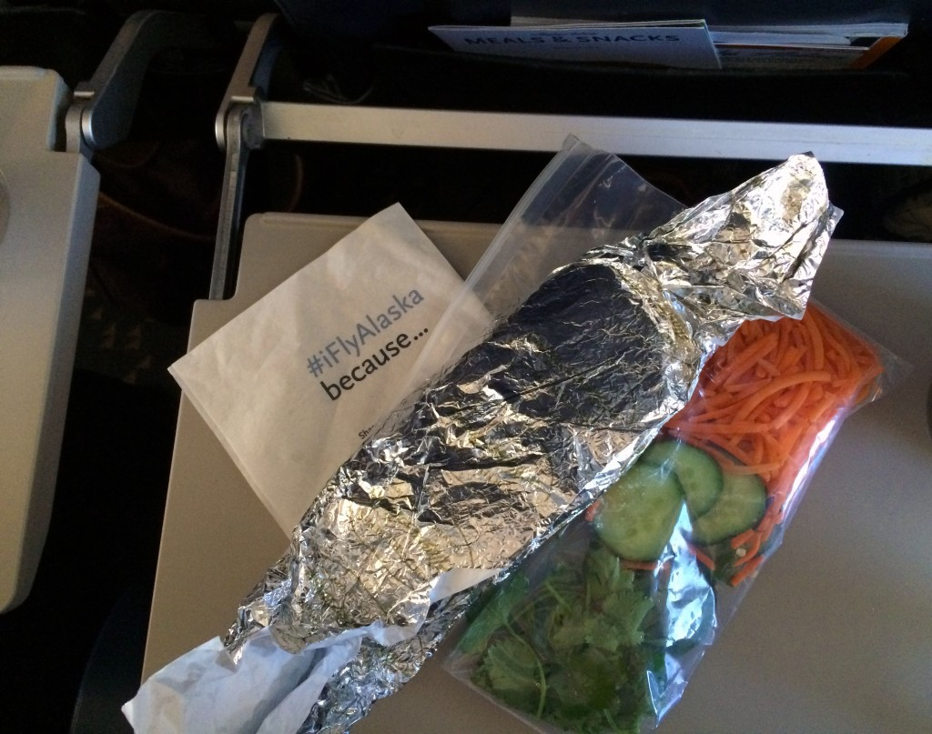 Alaska Airlines wrapped chicken banh mi sandwich