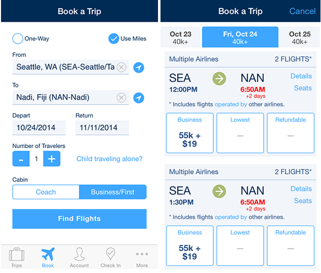 Booking award travel to Fiji with the Alaska Airlines app