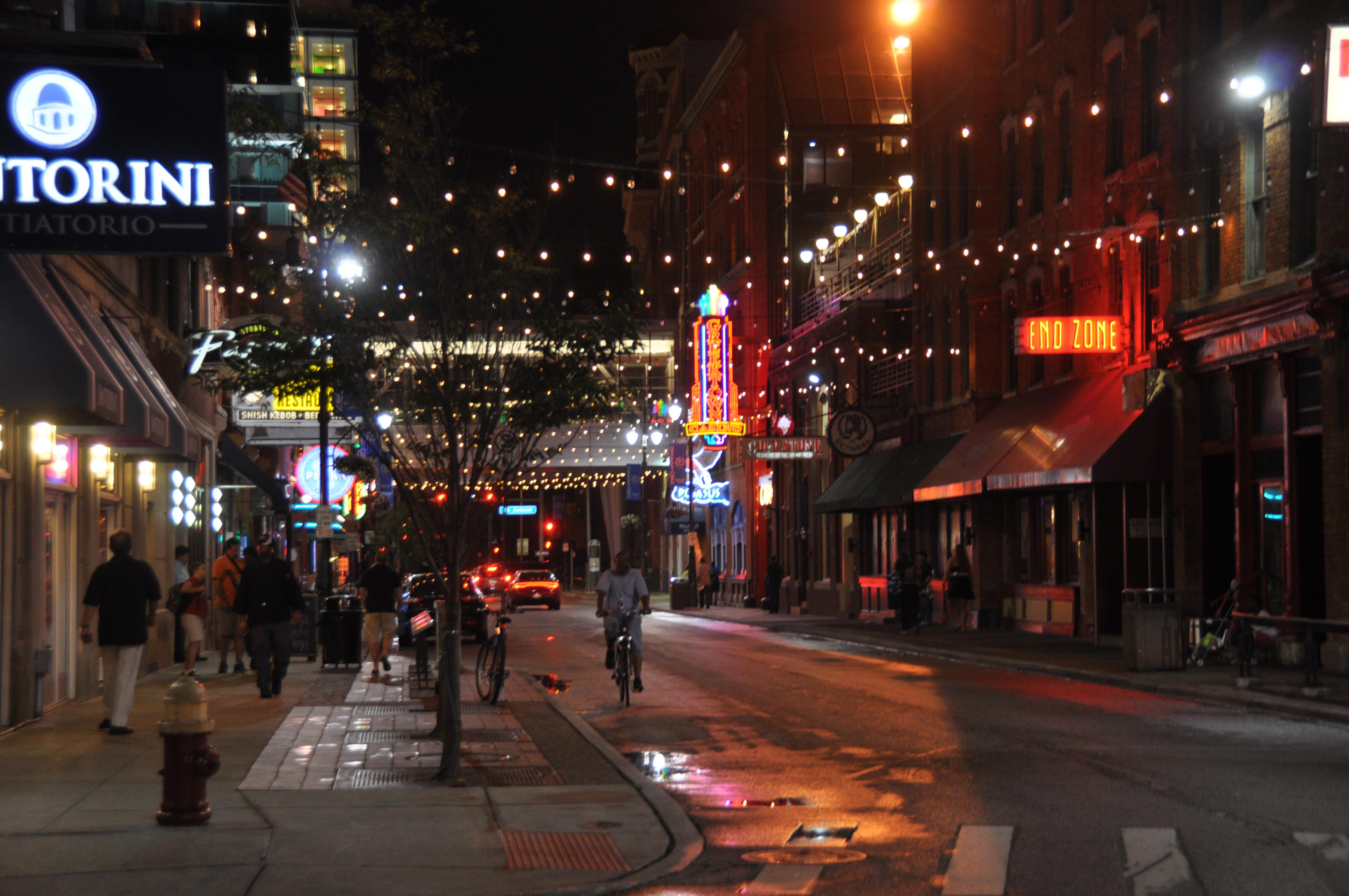 Greektown Detroit at night