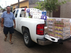 Edgard Aguilar, an Alaska Airlines customer service manager in Los Cabos, delivered a truckload of supplies for employees affected by the hurricane.