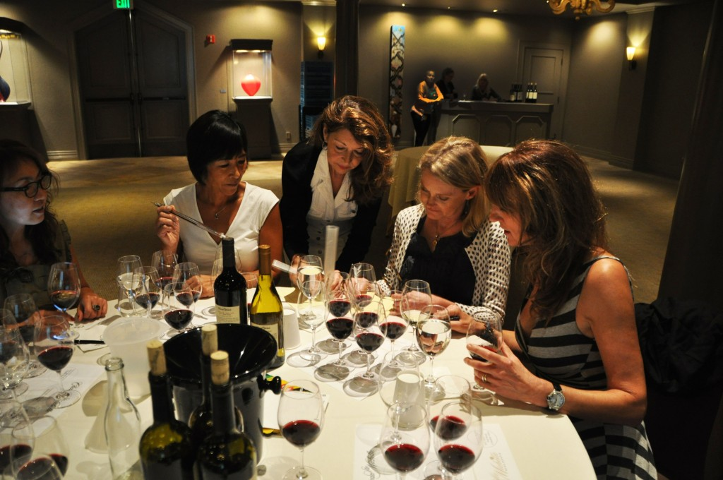 Alaska Airlines flight attendants take notes on Alaska's new wine offerings at Chateau Ste. Michelle in Woodinville, Washington.