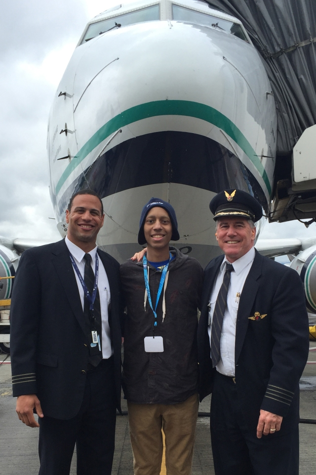 Alaska Airlines First Officer JP Wilson, Payton Williams, and Captain Don Kayler.