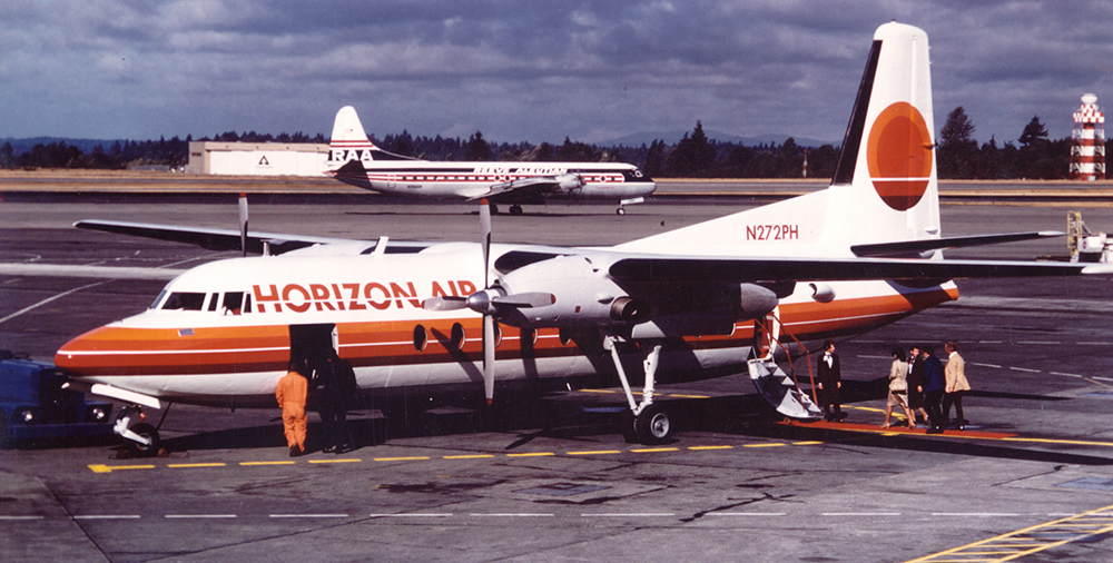 Passengers board Horizon Air's first flight in 1981.