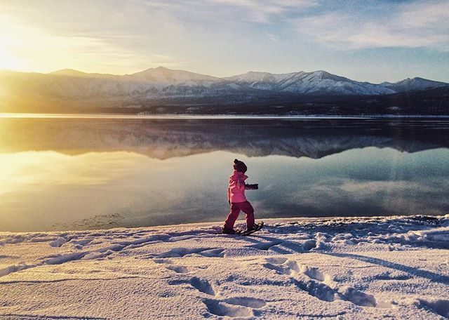If there were ever a place for this little one to snowshoe for the first time, the shores of Lake McDonald at sunset certainly takes the cake! Our first visit to Glacier National Park left us speechless...