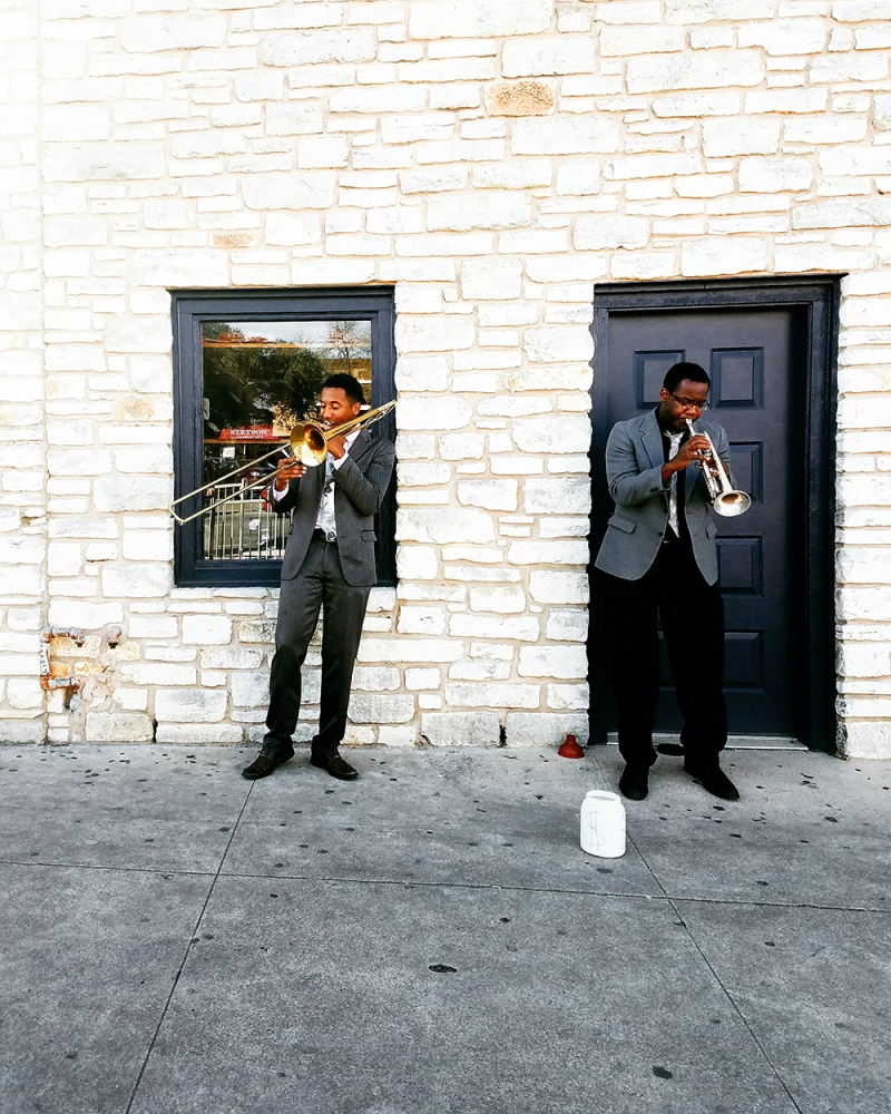 The vibrant and lively music scene is just one part of what gives Austin its energy and style. We spotted these two musicians as we walked among the cultural district on our way to more food!