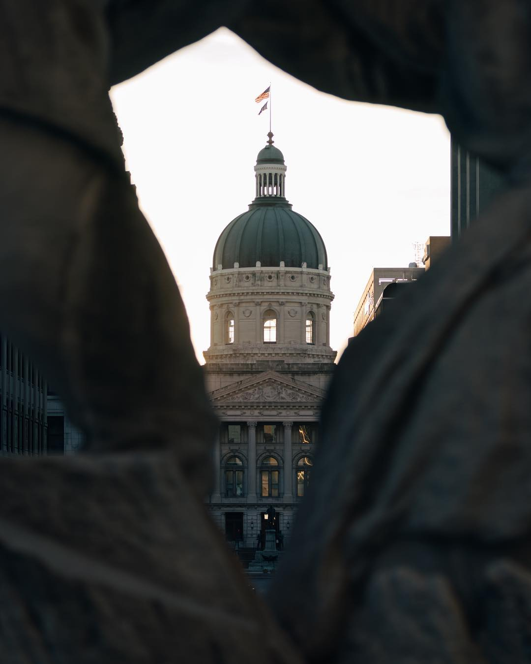 The Indiana Statehouse pays homage to the Parthenon. While Indiana limestone can be found throughout the structure, the doors are made up of Indiana Oak. Took the state four times to get it situated so better late than never, right?