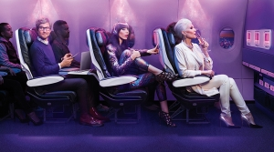 Photo of passengers on board a Virgin America plane.