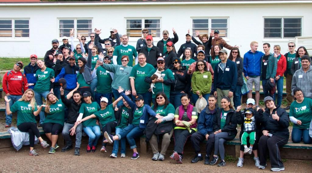 Photo of Virgin America teammates wearing green shirts while volunteering at NatureBridge