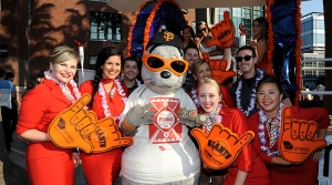 Photo of Virgin America flight attendants with San Francisco Giants mascot