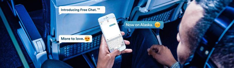 Photo of man on Alaska Airlines jet using Free Chat service