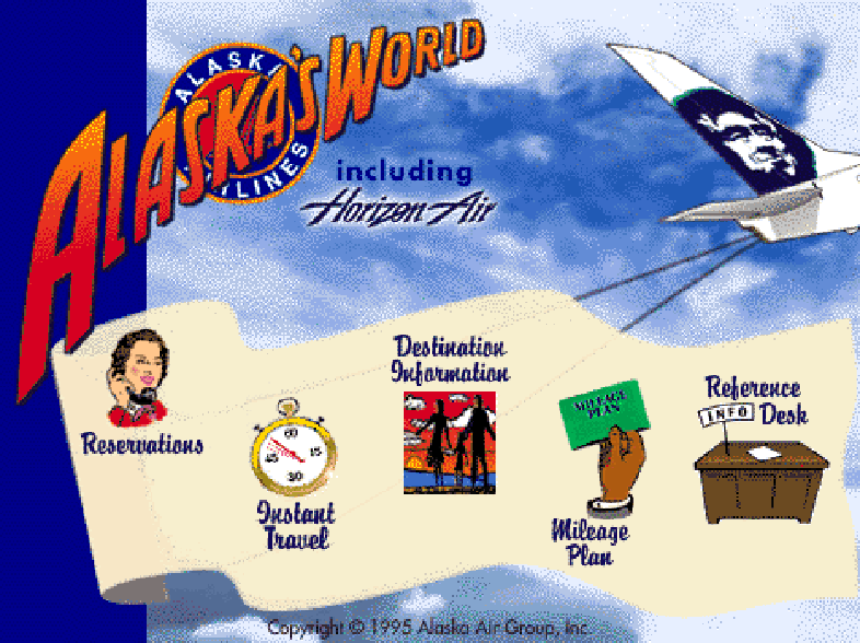 "A photo of the homepage of the old alaskaair.com. Says ""Alaska's World"" on the top left, with icons for Reservations, Schedules, Destination Information, Mileage Plan and Reference Desk."