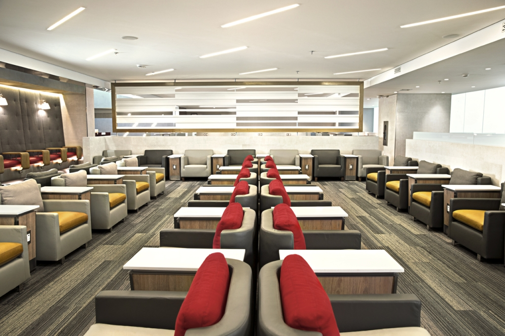 This is a photo of seating at the AA Admirals Club.