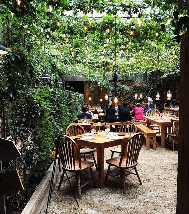 This is a photo of an outdoor restaurant with seating areas under lush greenery.