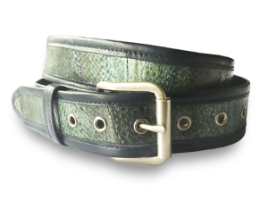 This is a studio photo of a green Alaska salmon leather belt from Tidal Vision.