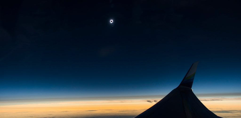 The moment of totality as viewed from Alaska Airlines Great American Eclipse Flight out of Portland, Oregon on August 21, 2017.