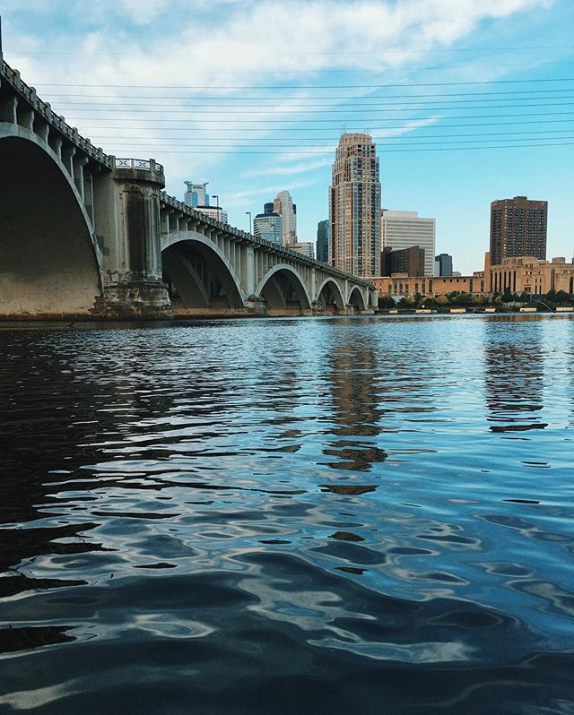 This is a photo of the Minneapolis skyline as viewed from across the Mississippi River.