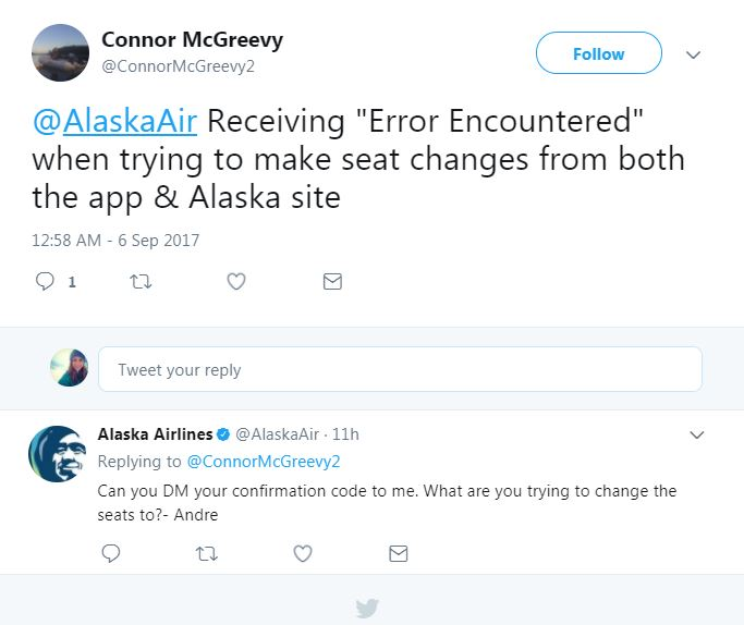 This is a Twitter interaction between a guest and an Alaska Airlines social care agent. The guest is having trouble locating a seat assignment and the agent is assisting.