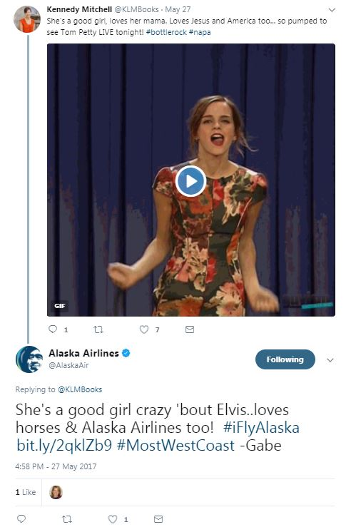 "This is a photo of a twitter interaction between a guest and a social care agent. The social care agent responded to the tweet using Tom Petty lyrics with a slight twist: ""She's a good girl crazy bout Elvis loves horses and Alaska Airlines too"""