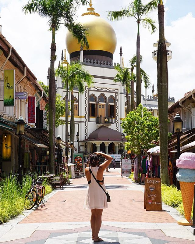 This is a photo of a woman standing on a sidewalk taking a photo of the mosque. The sidewalk is lined with shops and palm trees.