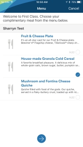 This is a screenshot of the Alaska Airlines mobile app. It lists three breakfast options. One is a fruit and cheese platter