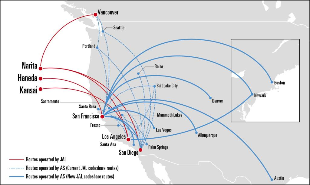 Japan Airlines and Alaska Airlines expand codeshare network ... on delta international route map, finnair route map, united airlines route map, american airlines international route map, air france route map, flight route map, cathay pacific route map, etihad route map, alitalia route map, air china international route map, cuba route map, lufthansa route map, delta air lines route map, world airline route map, china airlines route map, japan airlines route map, klm route map, iberia route map, europe by air route map, united states route map,